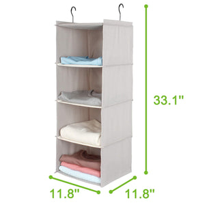 Amazon ishealthy hanging closet organizer 4 shelf cloth hanging shelf houndstooth imitation linen fabric easy mount collapsible foldable hanging closet shelves storage organizer with 2 hooks gray