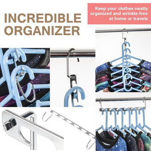 Best 4pcs clothes hangers space saver closet organizer with vertical and horizontal options premium abs material in solid silver color