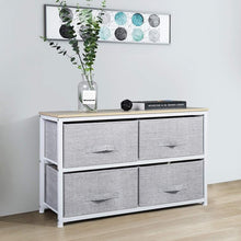 Load image into Gallery viewer, Shop here aingoo dresser storage 4 drawers storage bedroom steel frame fabric wide dressers drawers for clothes grey wood board 2x2 drawers grey