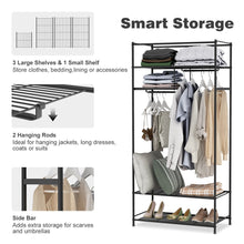 Load image into Gallery viewer, Heavy duty langria heavy duty zip up closet shoe organizer with detachable brown cloth cover wardrobe metal storage clothes rack armoire with 4 shelves and 2 hanging rods max load 463 lbs