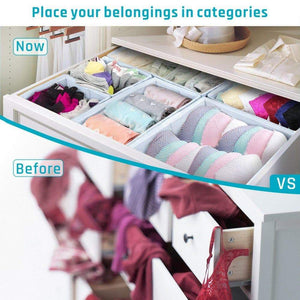Online shopping storage bins ispecle foldable cloth storage cubes drawer organizer closet underwear box storage baskets containers drawer dividers for bras socks scarves cosmetics set of 6 grey chevron pattern
