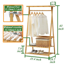 Load image into Gallery viewer, Exclusive copree bamboo garment coat clothes hanging heavy duty rack with top shelf and 2 tier shoe clothing storage organizer shelves