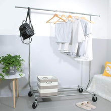Load image into Gallery viewer, Top camabel clothing garment rack heavy duty capacity 300 lbs adjustable rolling commercial grade steel extendable hanger drying organizer chrome finish storage shelf with wheels load up to 300lbs