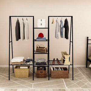 Budget metal garment rack heavy duty indoor bedroom clothing hanger with top rod and lower storage shelf clothes rack with 1 tier shelves black