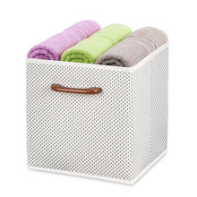 Load image into Gallery viewer, Budget friendly maidmax foldable storage cubes set of 6 decorative fabric storage bins containers organizers drawers with wood handles for shelves clothes closet kids bedroom gray polka dot