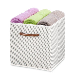 Budget friendly maidmax foldable storage cubes set of 6 decorative fabric storage bins containers organizers drawers with wood handles for shelves clothes closet kids bedroom gray polka dot