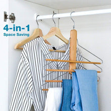 Load image into Gallery viewer, Storage organizer bestool pants hangers wooden pant hangers non slip wood hangers clothes hangers for closet space saving heavy duty coat hanger huggable baby hangers dual use trouser hanger