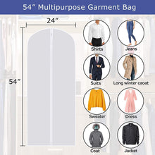 Load image into Gallery viewer, Online shopping skyugle clear garment bags dress cover 24 x 54 breathable hanging clothes storage protector for dance costumes suit coat plastic garment cover with sturdy zipper 7 pack