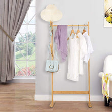 Load image into Gallery viewer, Explore langria single rail bamboo garment rack with 8 side hook tree stand coat hanger and four stable leveling feet for jacket umbrella clothes hats scarf and handbags natural wood finish