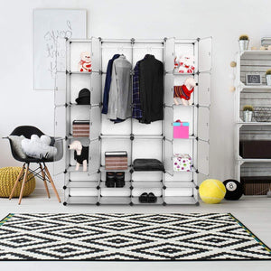 Save on tangkula portable clothes closet wardrobe bedroom armoire diy storage organizer closet with doors 16 cubes and 8 shoe racks