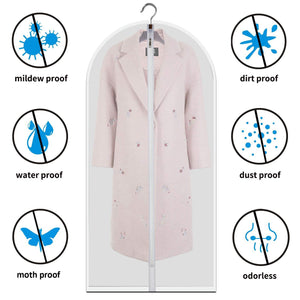 Organize with allhom dust proof clothing bags pack of 6 pcs 60 inch large hanging garment bags and cedar balls for coat long dress gowns and dance costumes