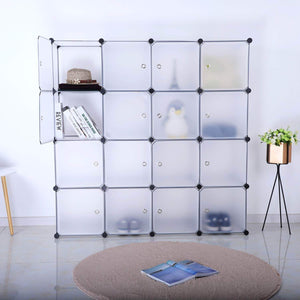 Budget bastuo 16 cubes diy storage cabinet clothes wardrobe closet bookcase shelf baskets modular cubes closet for toys books clothes white with doors