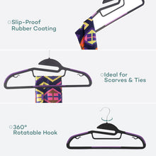 Load image into Gallery viewer, Products sable 60 pack plastic clothes hangers space saving ultra thin with 10 finger clips non slip heavy duty s shape for tight collars 6 colors for shorts pants shirts scarves