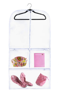Discover the clear gusseted suit garment bag 20 inch x 38 inch x 3 inch dance dress and costumes hanging travel storage for clothes shoes and accessories water resistant organizer