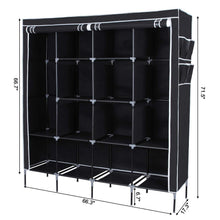Load image into Gallery viewer, Products songmics 67 inch wardrobe armoire closet clothes storage rack 12 shelves 4 side pockets quick and easy to assemble black uryg44h