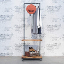 Load image into Gallery viewer, Purchase industrial pipe clothing rack with wood shelves steampunk iron garment rack on wheels vintage rolling cloths racks for hanging clothes commercial grade clothes racks retail display clothing shelf