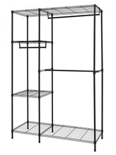 Load image into Gallery viewer, Kitchen finnhomy heavy duty wire shelving garment rack for closet organizer portable clothes wardrobe storage with adjustable shelves and hangers thicken steel tube black
