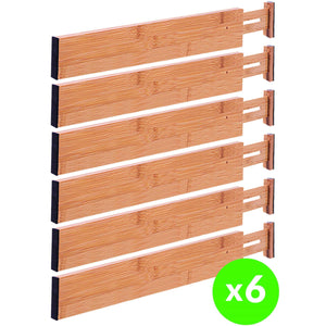 Drawer Dividers Bamboo Kitchen Organizers Set of 6 - Spring Loaded Drawer Divider Adjustable & Expandable Drawer Organizer - Best for Kitchen, Bedroom, Dresser, Baby Drawers & Closet