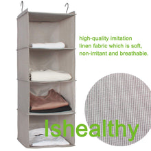 Load image into Gallery viewer, Try ishealthy hanging closet organizer 4 shelf cloth hanging shelf houndstooth imitation linen fabric easy mount collapsible foldable hanging closet shelves storage organizer with 2 hooks gray