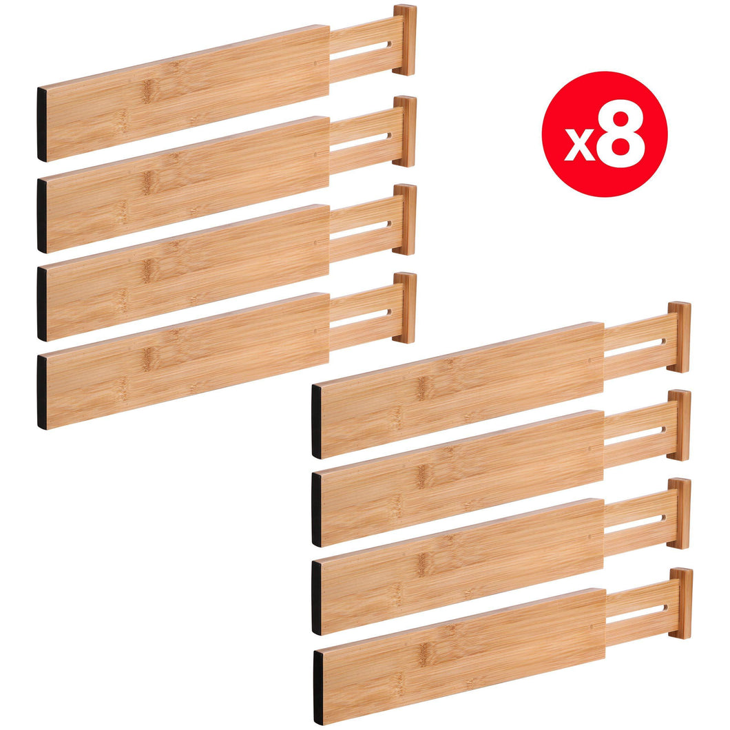 MoMA Bamboo Drawer Dividers (Set of 8) - Bamboo Natural Wood Kitchen Drawer Organizer - Anti-Scratch Desk Organizer - Dresser Silverware Utensil Drawer Organizer - Underwear Drawer Organizer