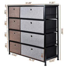 Load image into Gallery viewer, Shop here extra wide fabric storage organizer mixed colors clothes drawer dresser with sturdy steel frame wooden tabletop easy pull fabric bins organizer unit for bedroom hallway entryway closet 8drawers