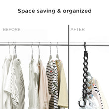 Load image into Gallery viewer, Amazon ipow 6 pack magic hanger heavy duty plastic closet space saving hanger wardrobe clothing cascading hanger organizer for easy wrinkle free shirts pants and coats
