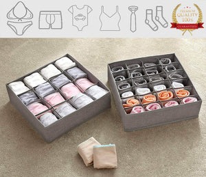 Budget yomfun socks organizers underwear drawer organizer foldable cloth dresser organizer for socks ties underwear tank tops baby t shirt shorts belts small stuff set of 2 gray