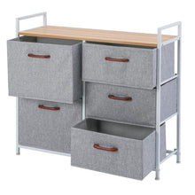 Load image into Gallery viewer, Buy maidmax storage cube dresser home dresser storage tower constructed by painted steel wooden top and 5 foldable cloth storage cubes gray