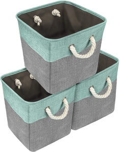 Try sorbus storage large basket set 3 pack big rectangular fabric collapsible organizer bin with cotton rope carry handles for linens toys clothes kids room nursery woven rope basket teal