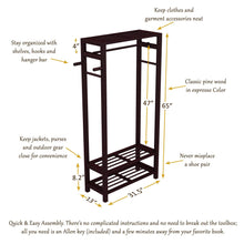 Load image into Gallery viewer, Storage organizer stony edge wood coat shoe garment rack and hat stand for hallway or front door entryway free standing clothing rail hanger easy to assemble espresso