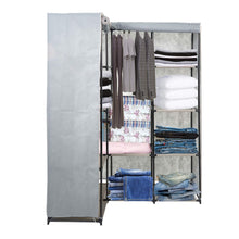 Load image into Gallery viewer, Online shopping dporticus portable corner clothes closet wardrobe storage organizer with metal shelves and dustproof non woven fabric cover in gray