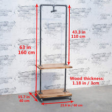Load image into Gallery viewer, Order now industrial pipe clothing rack with wood shelves steampunk iron garment rack on wheels vintage rolling cloths racks for hanging clothes commercial grade clothes racks retail display clothing shelf