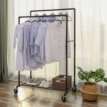 Load image into Gallery viewer, Buy songmics industrial pipe double rail wheels with commercial grade clothing hanging rack organizer for garment storage display black uhsr60b