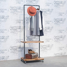 Load image into Gallery viewer, Related industrial pipe clothing rack with wood shelves steampunk iron garment rack on wheels vintage rolling cloths racks for hanging clothes commercial grade clothes racks retail display clothing shelf
