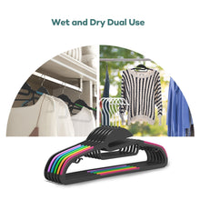 Load image into Gallery viewer, Related sable 60 pack plastic clothes hangers space saving ultra thin with 10 finger clips non slip heavy duty s shape for tight collars 6 colors for shorts pants shirts scarves