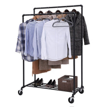 Load image into Gallery viewer, Buy now songmics industrial pipe double rail wheels with commercial grade clothing hanging rack organizer for garment storage display black uhsr60b