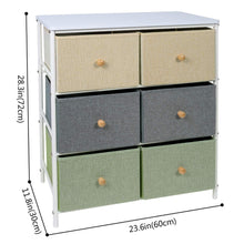 Load image into Gallery viewer, Storage organizer lifewit small storage drawer unit with metal frame for children small clothes organizer with wooden tabletop for livingroom bedroom cabinet with 6 easy pull fabric drawers 3 tier