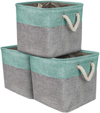Load image into Gallery viewer, Storage organizer sorbus storage large basket set 3 pack big rectangular fabric collapsible organizer bin with cotton rope carry handles for linens toys clothes kids room nursery woven rope basket teal