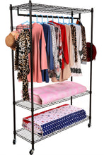 Load image into Gallery viewer, Related homdox 3 tiers large size heavy duty wire shelving garment rolling rack clothing rack with double clothes rods and lockable wheels 1 pair side hooks black