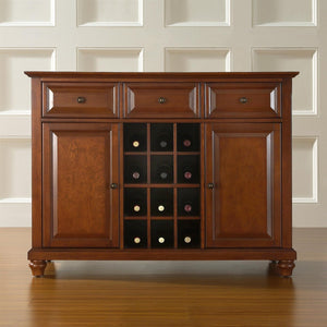 Classic Cherry Wood Finish Dining Room Sideboard Buffet with Wine Storage