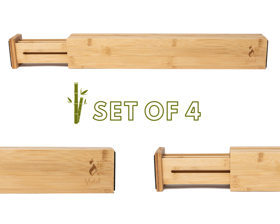 Bamboo Drawer Dividers | Adjustable and Expandable | Set of 4 Drawer Organizers - Vistal Supply