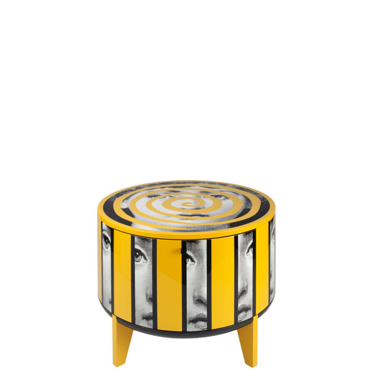 Fornasetti Tamburo table Rigalina colour - with drawer divider