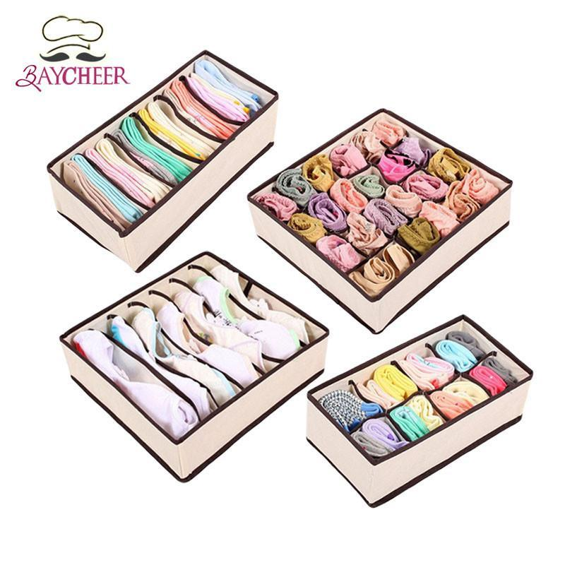 4Pcs Space Saver Nonwoven Beige Storage Box Container Drawer Divider Ties Socks Bra Underwear Organizer Classify To Storage