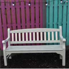 Garden bench transformed with Autentico Eggshell at Lily Bloom Interiors Camolin