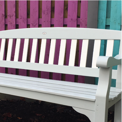 Painted Garden Bench using Autentico Eggshell colours Aqua and Neutral at Lily Bloom Interiors Camolin County Wexford.