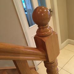 High gloss varnished banister before painting