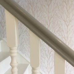 IceCream spindles and Latte Banister against Wallpaper from Lily Bloom Interiors