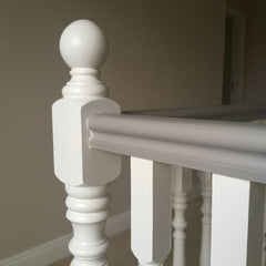 Banister painted with Autentico Eggshell IceCream & Latte from Lily Bloom Interiors