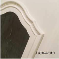 Close up of PVC door painted from Black to Ice Cream colour from Autentico Paint at Lily Bloom Interiors