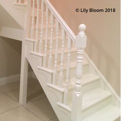Ann's stairs totally transformed from varnished light oak to Ice Cream colour from Autentico